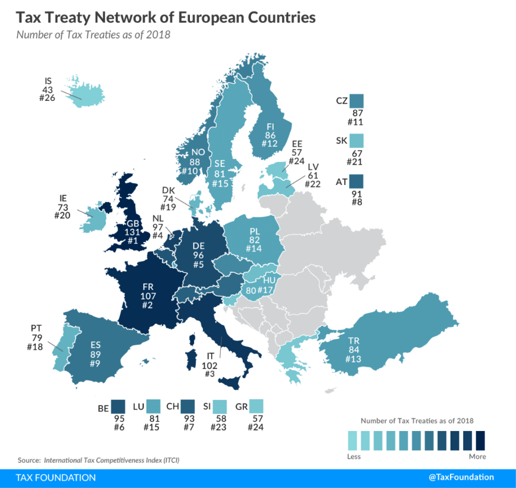 map of europe with amount of tax treaties per country